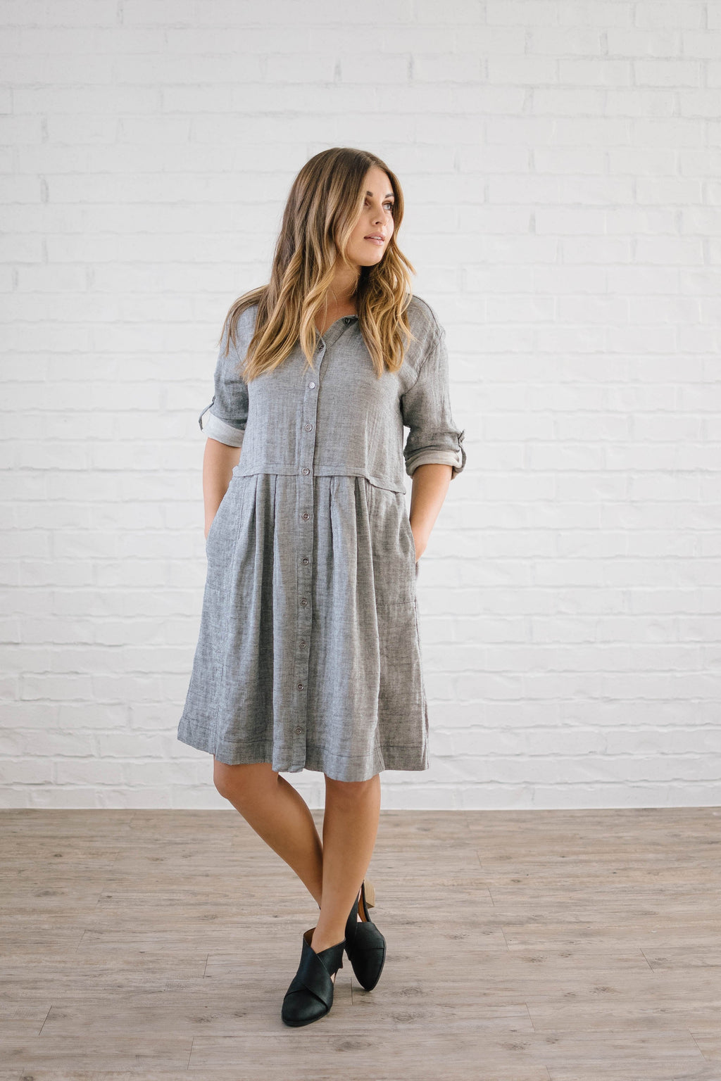 The Emily Gauze Button Down Dress in Gray