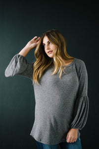 The Madison Top in Heathered Gray