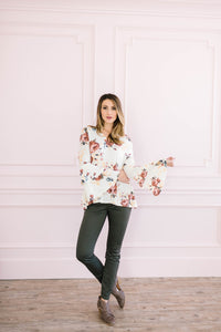 The Sadie Floral Bell Sleeve Top in Cream