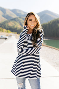 The Sailor Striped Peplum in Navy & White