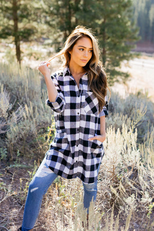 The Tristan Flannel Tunic In Black & White