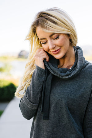 Thumbs Up Cowl Neck Pullover