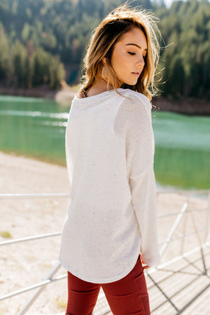 Time To Unwind Tie Front Top In Ivory - ALL SALES FINAL