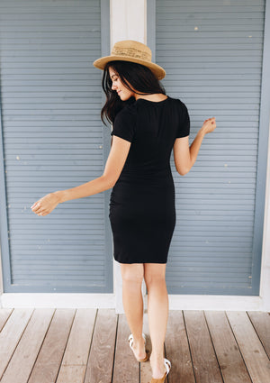 Tulip Hem Ruched T-Shirt Dress