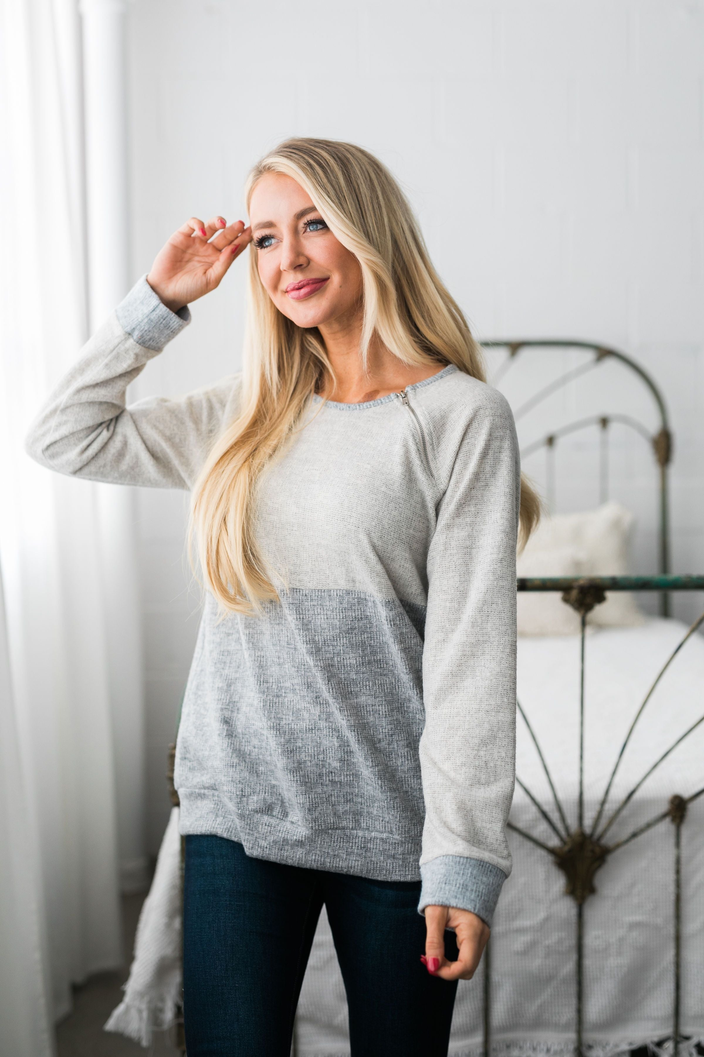 Two Shades Of Gray Angled Zip Top - ALL SALES FINAL