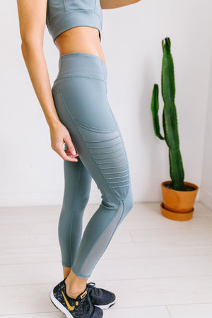 Use It Or Lose It Moto Leggings In Dusty Blue - ALL SALES FINAL