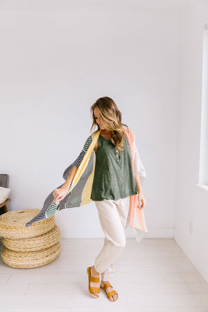 Warm Striped Color Block Kimono