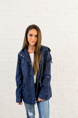 Waterproof Hooded Anorak In Navy - ALL SALES FINAL