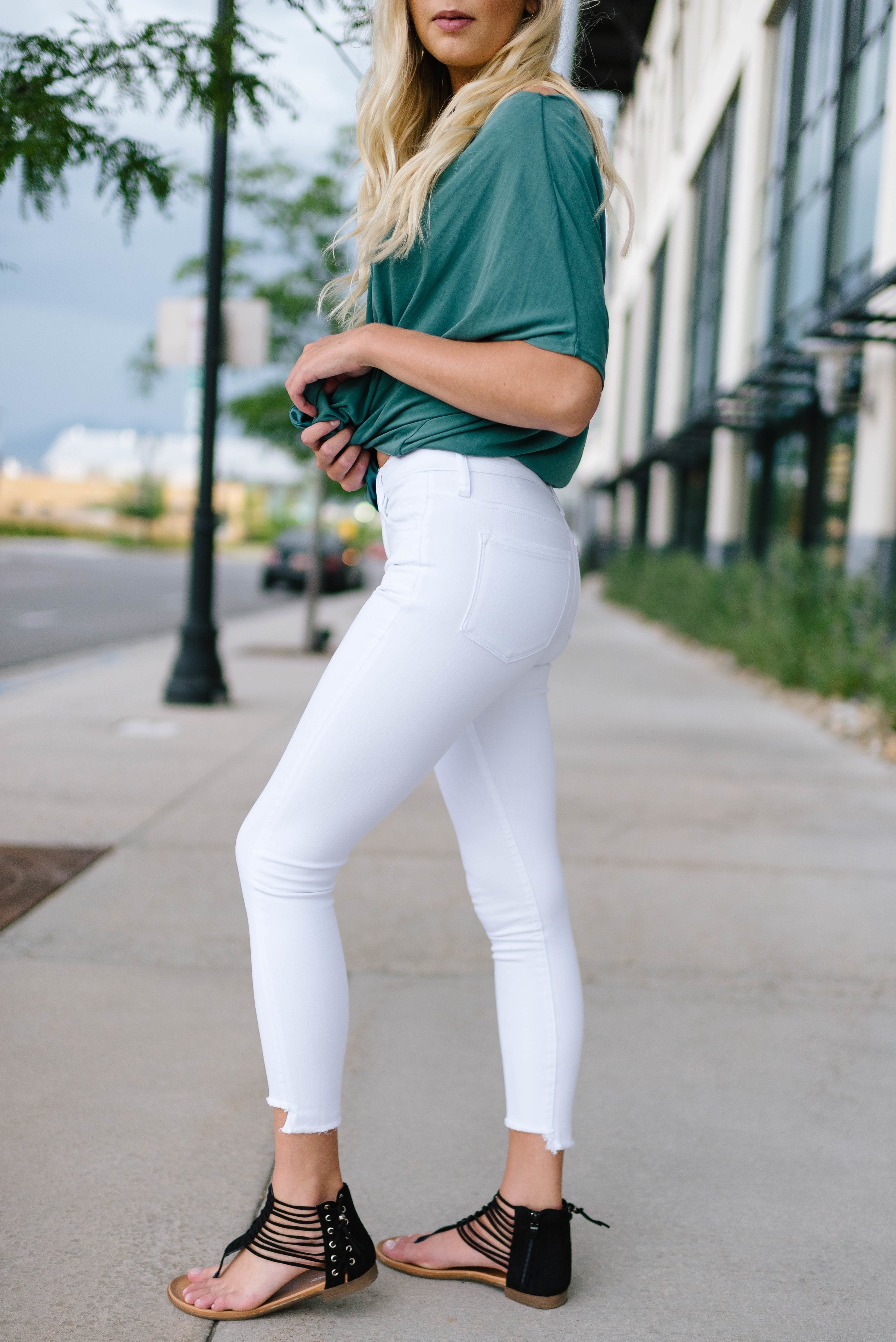 White Step Hem Skinnies