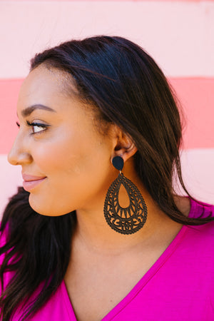 Wood Filigree Teardrop Earrings