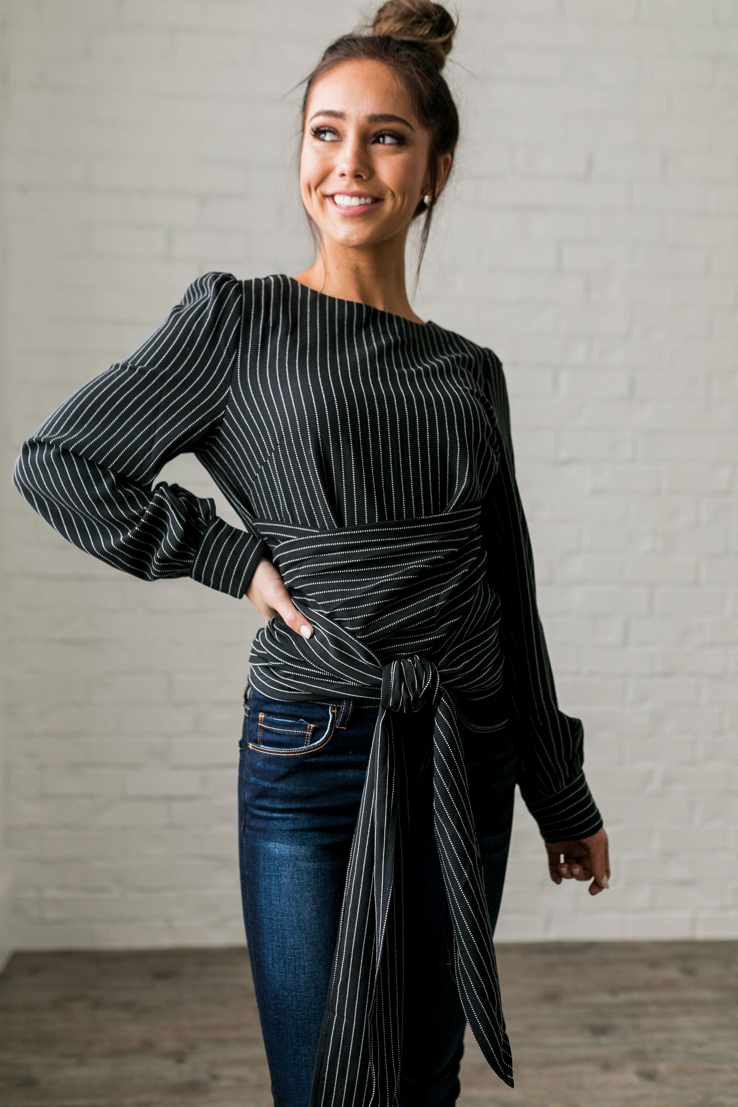 Wrap Around Pinstriped Blouse