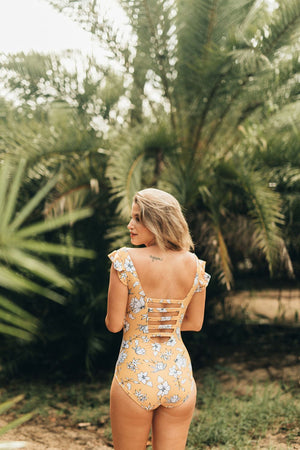 Yellow Floral Ruffle Sleeve One Piece