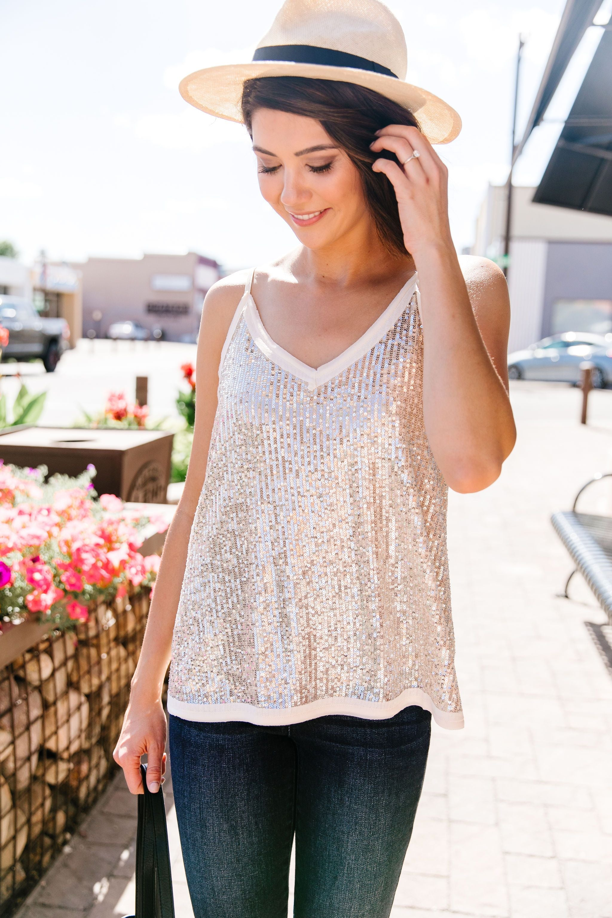 You Glow Girl Sequin Cami In Champagne