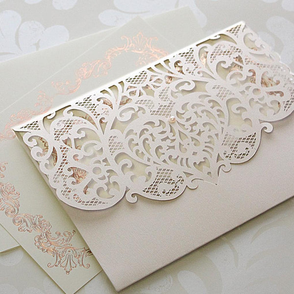 Light Grey Laser Cut Pocket Floral Invitations With Rose Gold Ornament