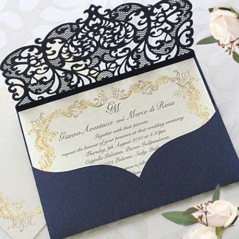 Invitations Handmade Products 50 Cards Pack White Wedding Invitations With Envelopes Elegant Lace Invitation With Template Laser Cut Floral Printable Diy Kit
