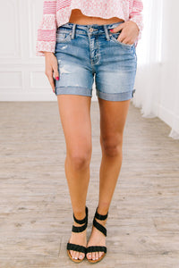 Just Right Distressed Denim Shorts