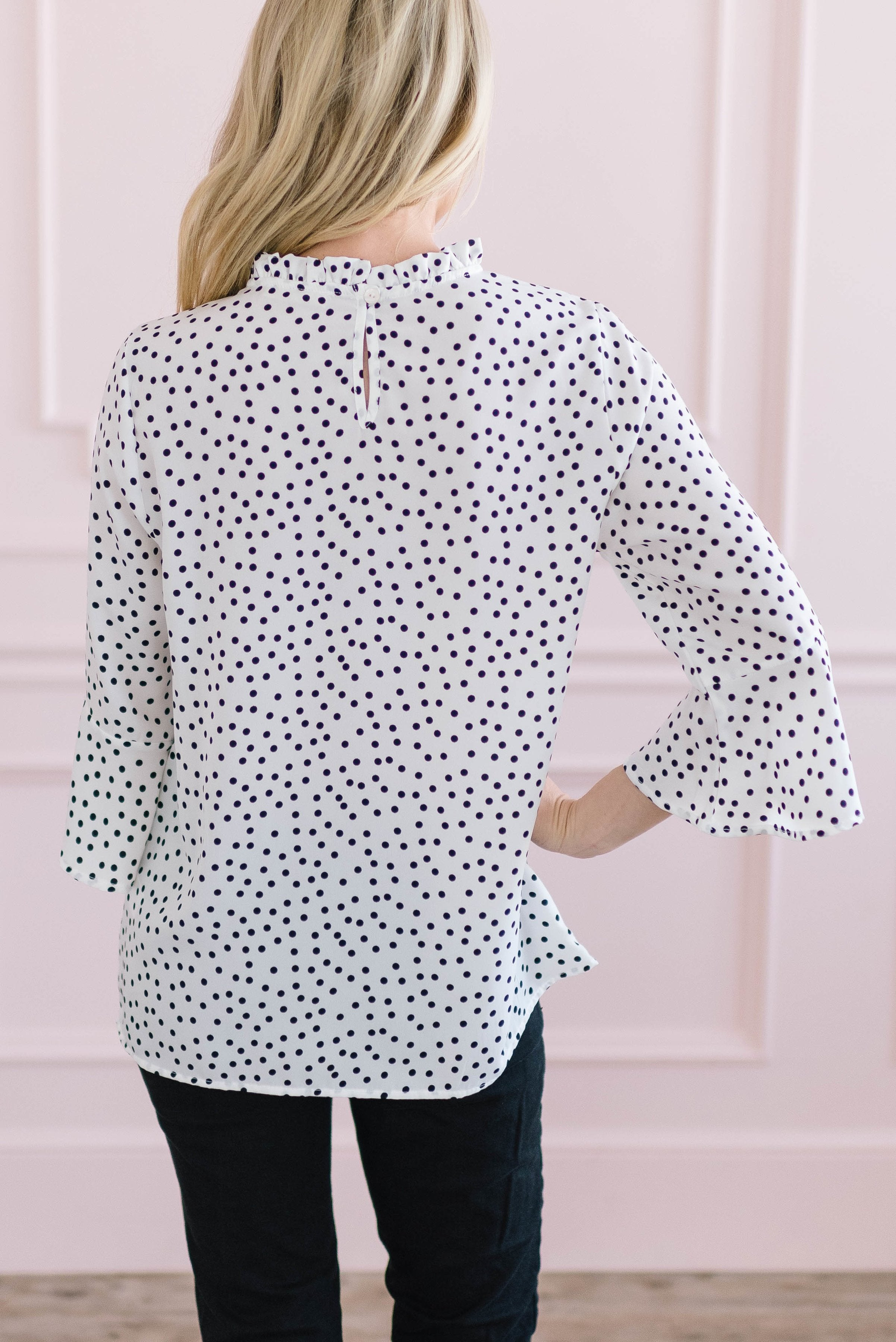 Black + White Dot Top