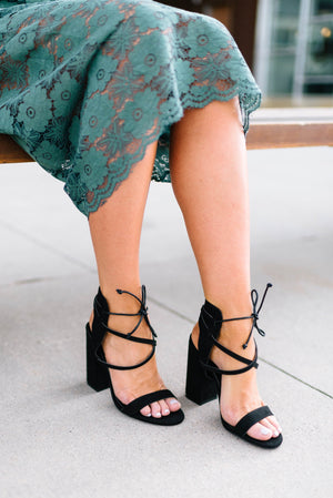 Charlene Chunky Lace Up Heels - ALL SALES FINAL