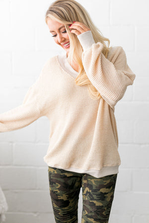 Double V Waffle Knit Top In Natural