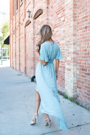Dusty Teal High-Low Hem Dress In Sea Foam