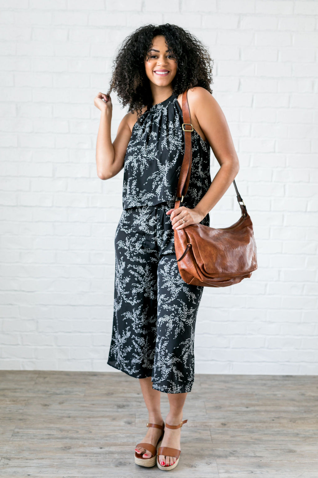 Floral Spray Black + White Jumpsuit