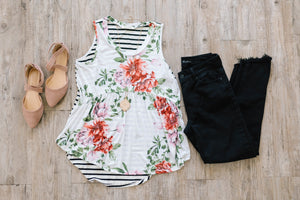 Flowers + Stripes Tank