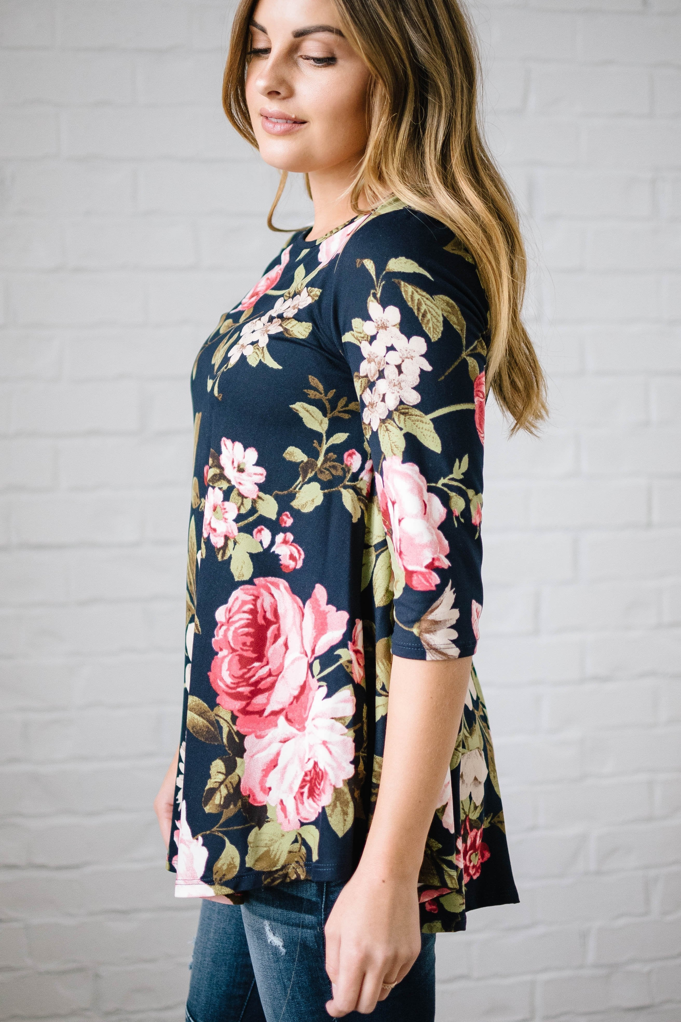 Monroe Floral Swing Blouse in Navy