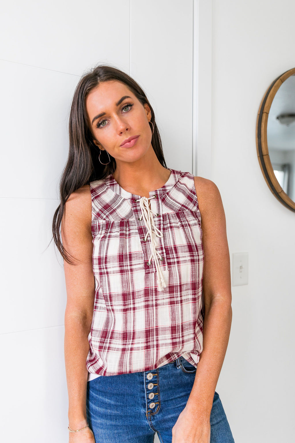 Plaid Lace-Up Sleeveless Top