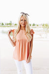 Ruffled Sleeve Baby Doll Blouse In Peach