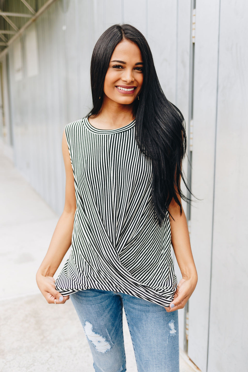 Striped Twist And Cross Top In Black + Ivory