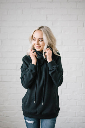 Sunday Funday Cowl Neck Sweatshirt in Black