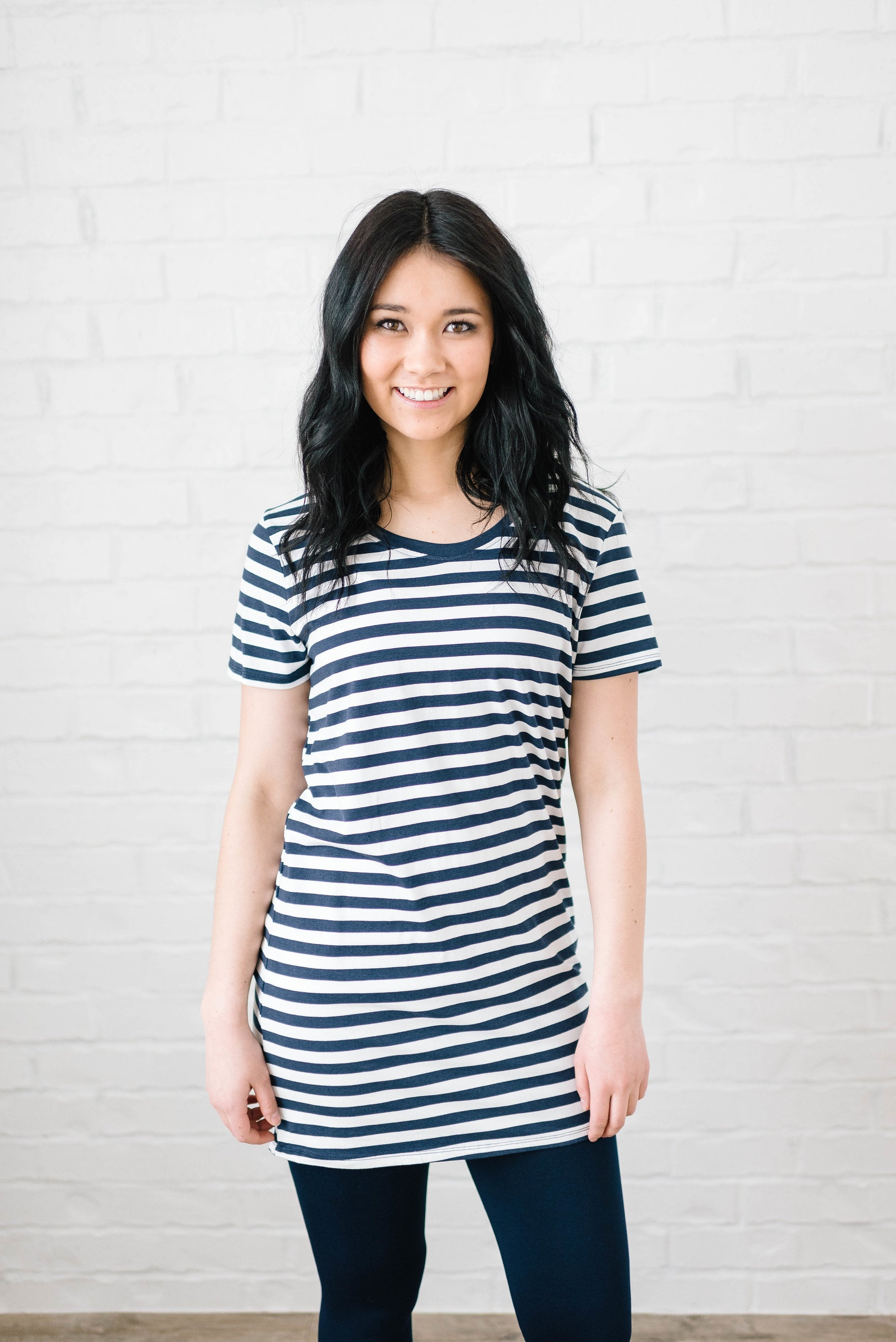 The Stacy Striped Dress in Navy & White