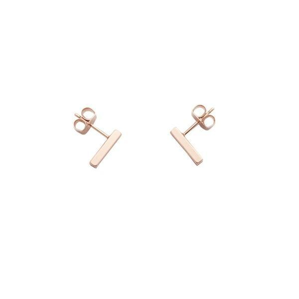 18k Rose Gold Mini Bar Earrings