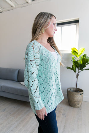 Delilah Diamond Knit Cardi In Mint - ALL SALES FINAL