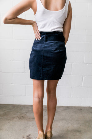 Belted Corduroy Paper Bag Skirt - ALL SALES FINAL