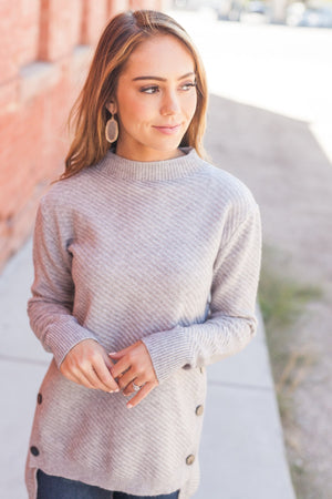 Buttons On The Side High Low Sweater In Gray - ALL SALES FINAL