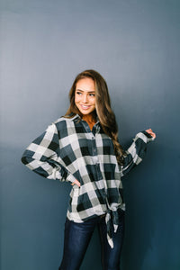 Checkered Past Button-Down Tie Front Top - ALL SALES FINAL
