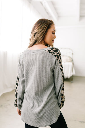 Cool Cat Leopard Sleeve Top - ALL SALES FINAL