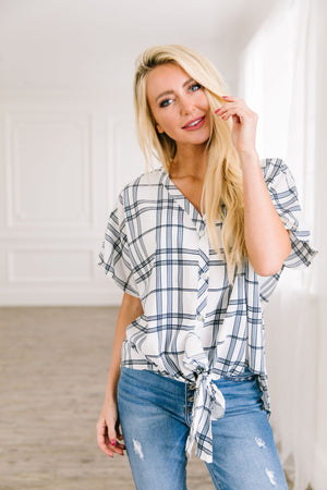 Crisp Plaid Button Down Top