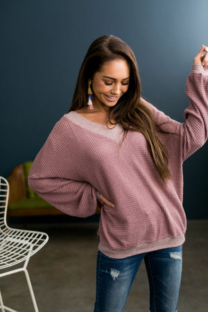 Double V Waffle Knit Top In Mauve - ALL SALES FINAL