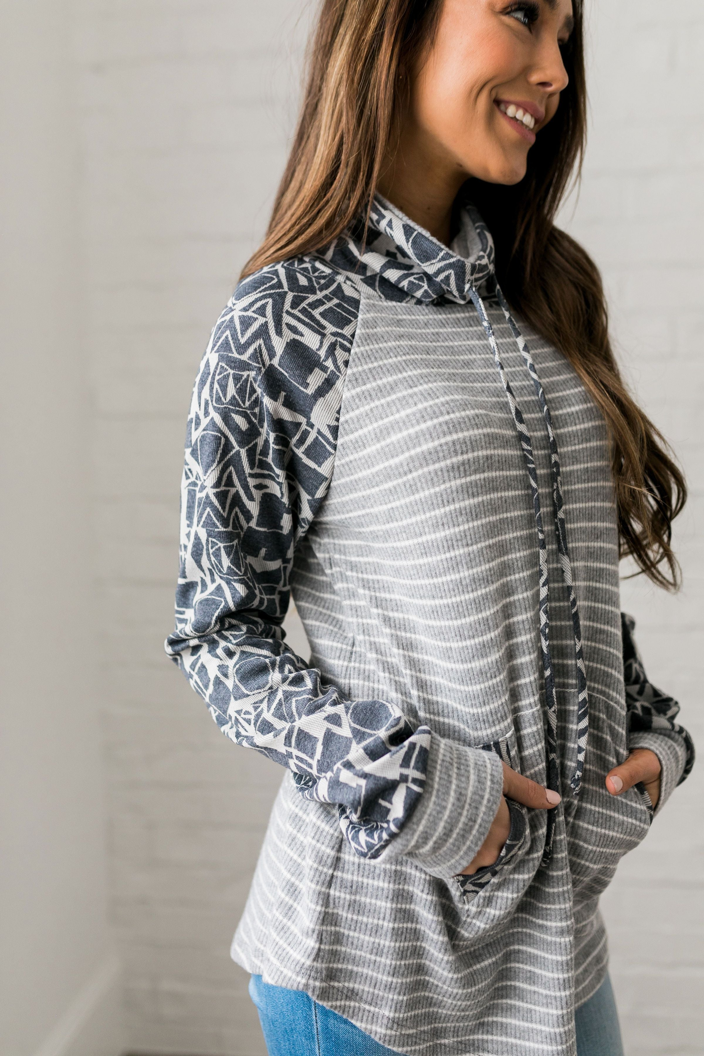 Geometry 101 Raglan Cowl Neck Top - ALL SALES FINAL