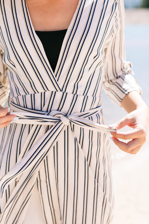 Kate Windswept Striped Wrap Dress - ALL SALES FINAL