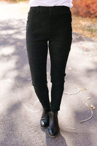 Miraculous Microsuede Leggings In Black - ALL SALES FINAL