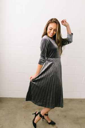 Perfectly Pleated Platinum Velvet Midi Dress