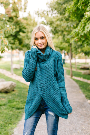 Put It On My Tab Cowl Neck Sweater In Teal