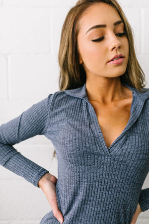 Ribbed & Collared V-Neck Top - ALL SALES FINAL