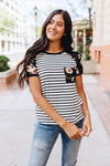 Rosie Flowers + Stripes Raglan Tee