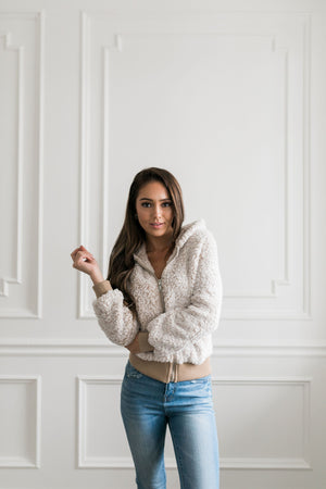 Sherpa Contrasting Cropped Zip-Up Hoodie in Oatmeal - ALL SALES FINAL