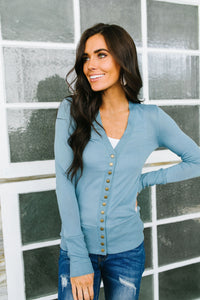 Snap Out Of It Cardigan in Blue Gray