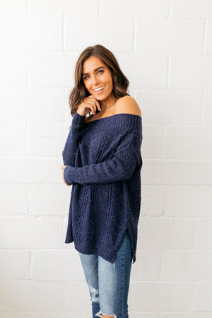 Starry Starry Night Off The Shoulder Sweater
